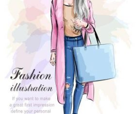 Fashion watercolor illustration vector