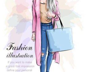 Fashion watercolor illustration vector