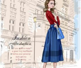 Fashion woman on the street watercolor illustration vector