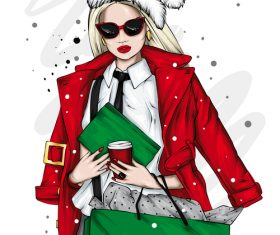 Fashionable Christmas girl vector