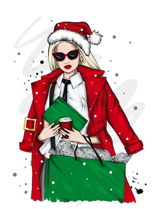 Fashionable Christmas girl vector