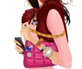 Fashionable girl in waistcoat with pink bag vector