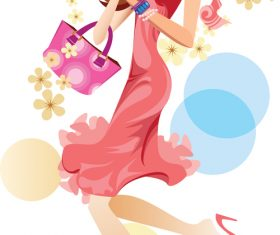 Fashionable woman vector in pink dress