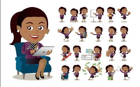 Female clerk in purple suit comic character vector