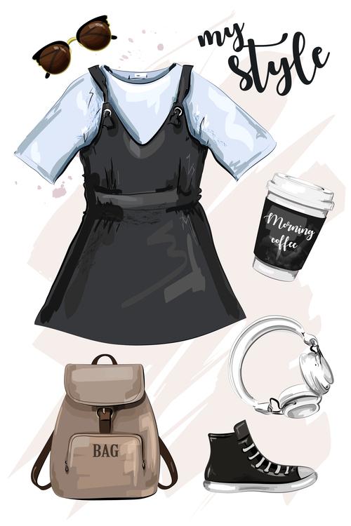 Female clothing collocation watercolor illustration vector