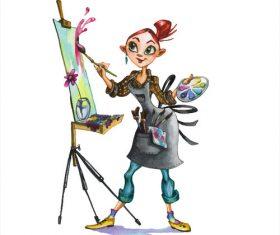 Female painter watercolor illustrations vector