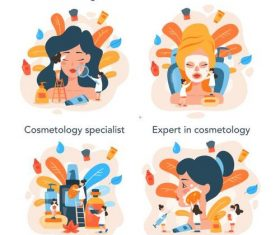 Female skin care cartoon illustration vector