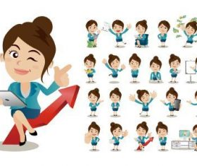 Female staff in different poses cartoon vector