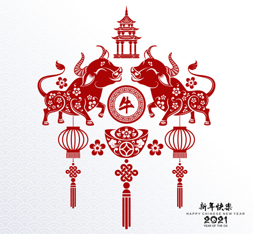 Festive Chinese 2021 Year of the Ox paper cut vector