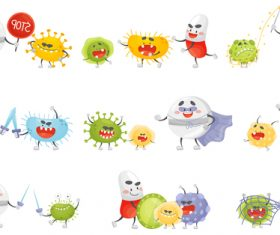 Fighting virus cartoon vector