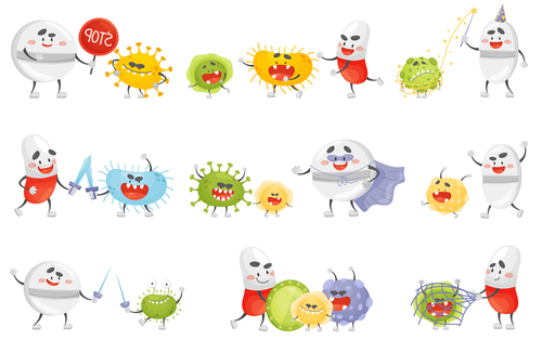 Fighting virus cartoon vector