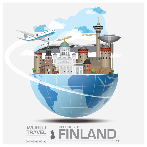 Finland famous tourist attractions concept vector