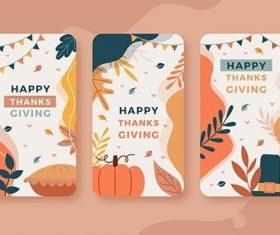 Flat design thanksgiving instagram stories