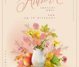 Floral thank you card vector design