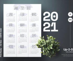 Flossy calendar 2021 vector