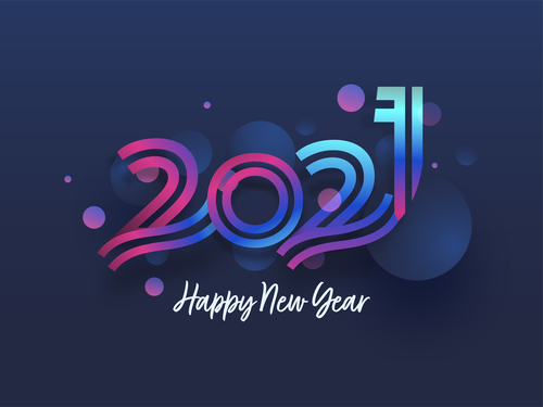 Flowing 2021 new year color text design vector