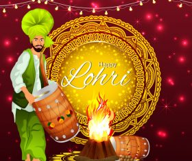 Flyer Happy Lohri Indian festival vector