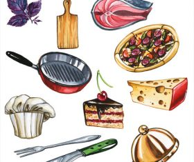 Food and tableware watercolor illustrations vector