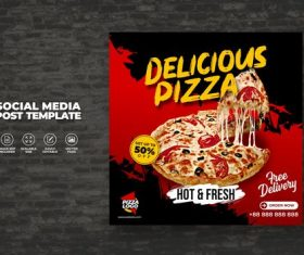 Food menu and delicious hot fresh pizza