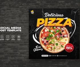 Food restaurant menu and delicious pizza for social media vector template
