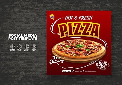 Food restaurant menu and delicious pizza