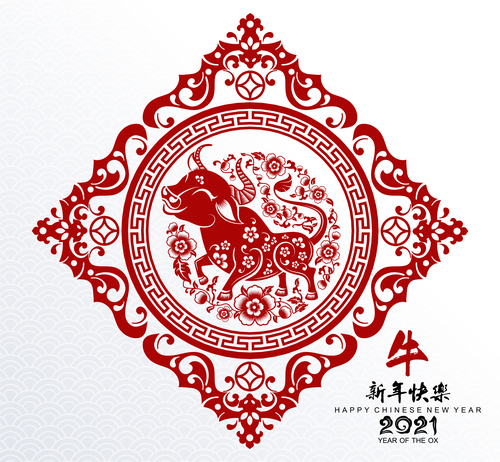 Frame paper cut art year of the ox 2021 vector