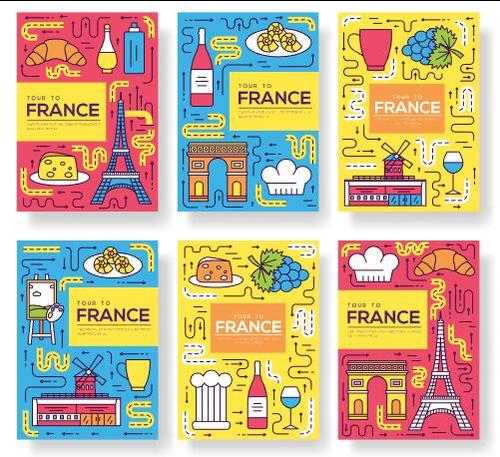 French cuisine and tourist attractions flyer vector