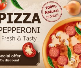 Fresh tasty vegetarian pizza vector
