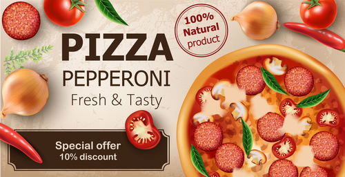 Fresh tasty vegetarian pizza vector