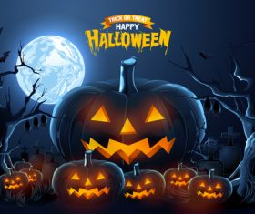 Full moon and pumpkin lantern halloween background vector