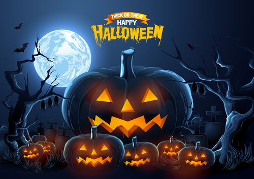 Full moon and pumpkin lantern halloween background vector
