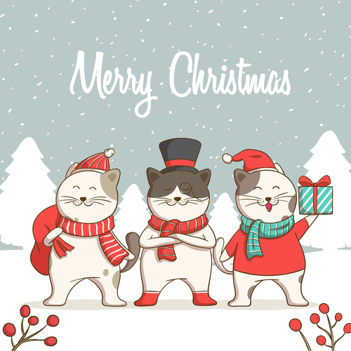 Fun Christmas illustrations of cute cats hand drawing vector