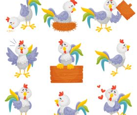 Funny chicken cartoon vector