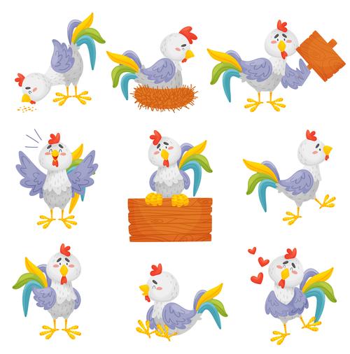 Funny chicken cartoon vector