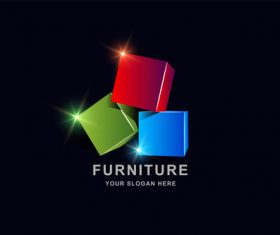 Furniture 3d square pattern design vector