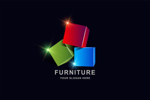 Furniture 3d square pattern design vector