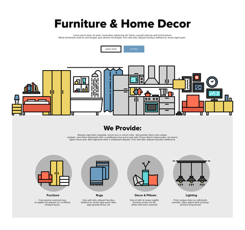 Furniture home decor flat graphic concept vector