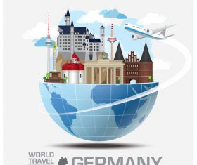 Germany famous tourist attractions concept vector