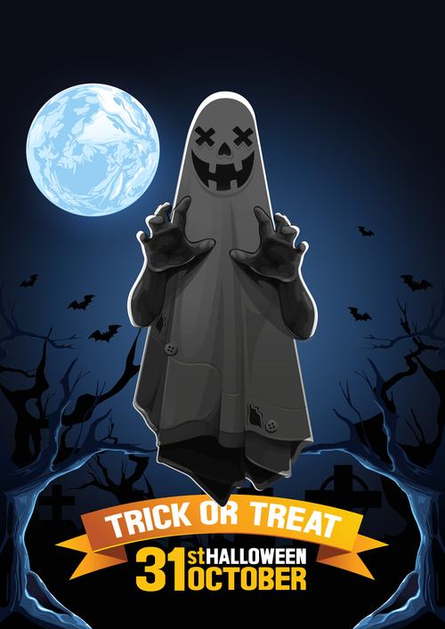 Ghost halloween background vector