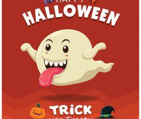 Ghost halloween poster design vector