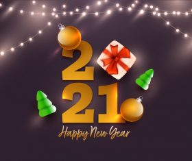 Gift decoration 2021 colorful text design vector
