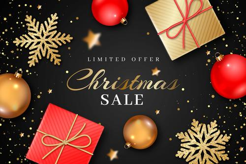 Gifts and snowflakes Christmas sale flyer vector
