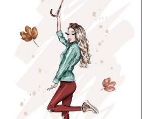 Girl holding umbrella dancing watercolor illustration vector