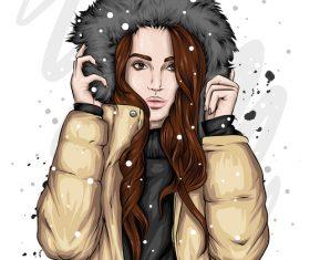 Girl in down jacket vector