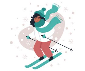 Girl skiing illustration vector