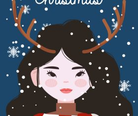 Girl with antlers ornaments vector