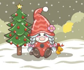 Gnome girl and Christmas tree vector