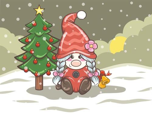 Gnome girl and Christmas tree vector