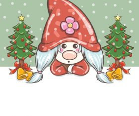Gnome girl in the middle of two Christmas trees vector