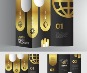 Gold black 3d brochure vector
